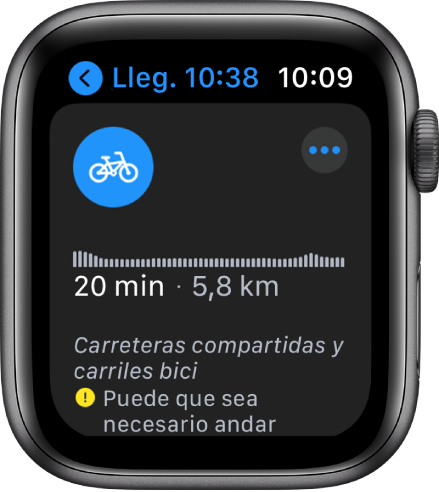 La pantalla Mapas con un resumen de las indicaciones en bici, incluidos los cambios de desnivel, la hora estimada de llegada y la distancia.