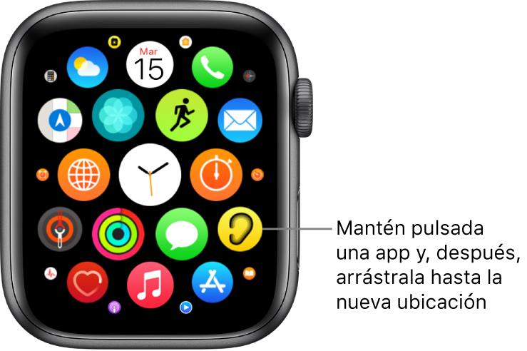 Pantalla de inicio del AppleWatch en visualización de mosaico.