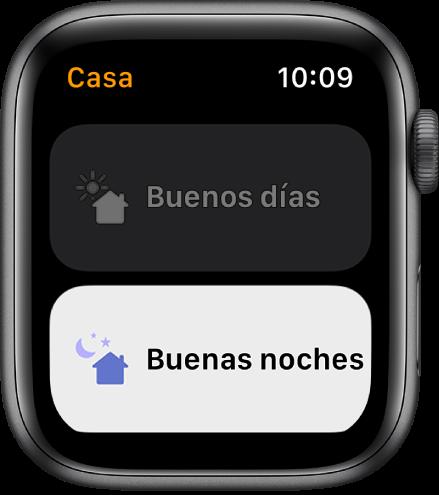 """La app Casa en el AppleWatch, con dos escenas: """"Buenos días"""" y """"Buenas noches"""". """"Buenas noches"""" aparece resaltado."""
