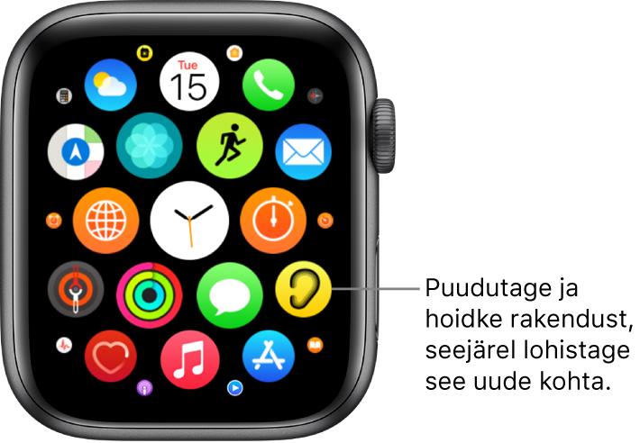 AppleWatchi Home Screen-kuva võrgustikvaates.