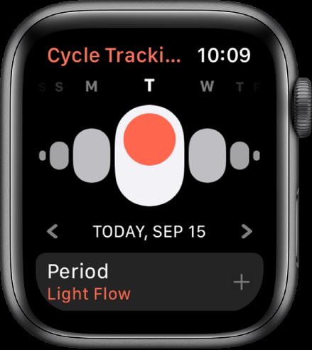 Rakenduse Cycle Tracking kuva, mille ülaosas kuvatakse nädalapäevi, praegust kuupäeva selle all ning nuppu Period allservas.