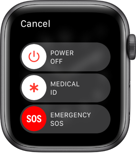 Apple Watchi kuva koos kolme liuguriga: Power Off, Medical ID ja Emergency SOS. Apple Watchi väljalülitamiseks lohistage liugurit Power Off.