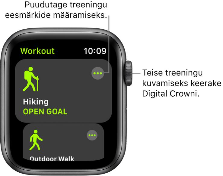 Kuva Workout koos esiletõstetud treeninguga Hiking. Paremal üleval kuvatakse nuppu More. Osa treeningust Outdoor Walk kuvatakse all.