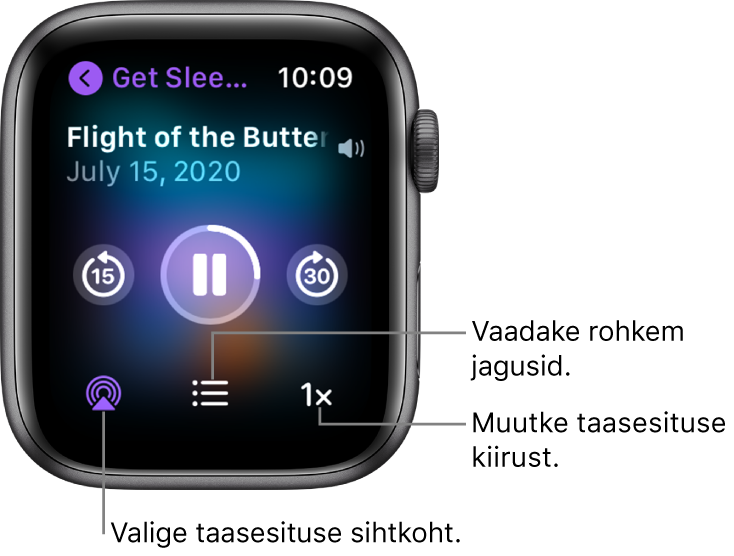 Podcasti kuva Now Playing, kus on toodud saate pealkiri, jao pealkiri, kuupäev, 15 sekundi võrra tagasi liikumise nupp, peatamise nupp, 30 sekundi võrra edasi liikumise nupp, nupp AirPlay, jagude nupp ning taasesituse kiiruse nupp.