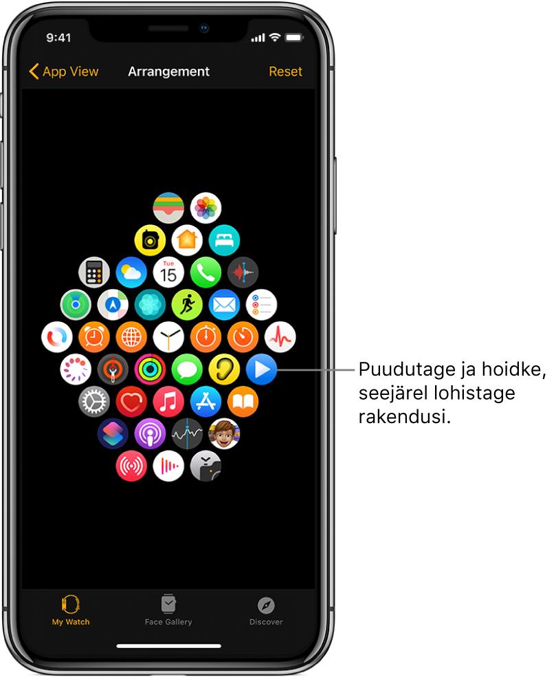 AppleWatchi kuva Arrangement ikoonide võrgustikuga.