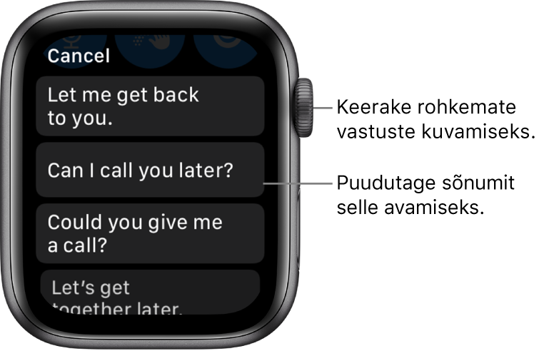 """Rakenduse Mail kuva, mille ülaosas on nupp Cancel ning kolm valmisvastust (""""Let me get back to you."""", """"Can I call you later?"""" ja """"Could you give me a call?"""")."""