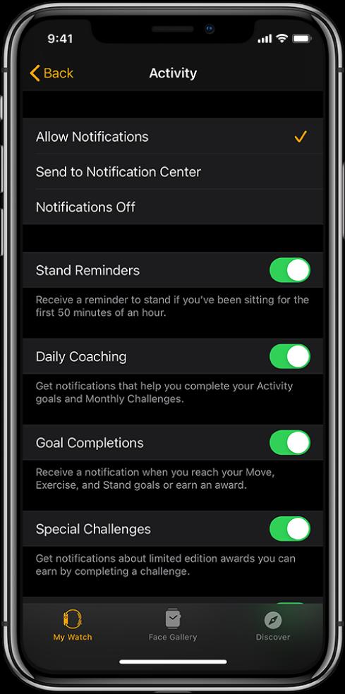 Rakenduse AppleWatch kuva Activity, kus saate kohandada teile saadetavaid märguandeid.