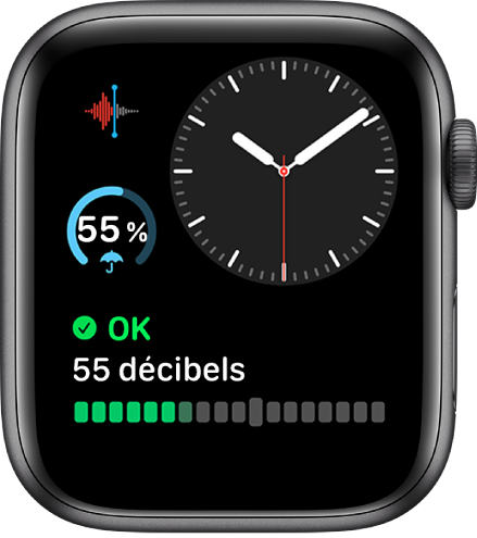 Le cadran «Modulaire compact» montre une horloge analogique en haut à droite, une complication Dictaphone en haut à gauche, une complication Météo au milieu à gauche de l'écran et une complication Bruit en bas.