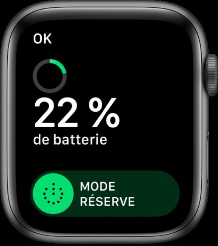 L'écran du mode Réserve affichant le bouton OK dans le coin supérieur gauche, le pourcentage de batterie restant et le curseur du mode Réserve.