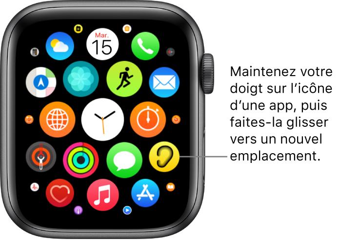 Écran d'accueil en présentation en grille sur l'AppleWatch.