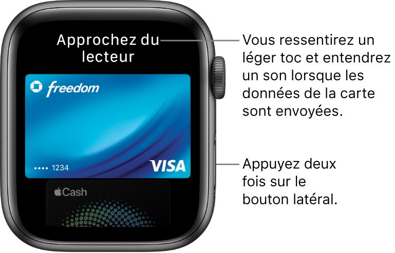 Écran ApplePay avec «Approcher du lecteur pour payer» en haut. Vous ressentez un léger toc et entendez un son lorsque les données de la carte ont été envoyées.