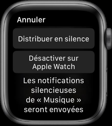 Réglages de notification sur l'AppleWatch. Le bouton supérieur affiche «Distribuer en silence» et celui en dessous: «Désactiver sur l'AppleWatch.»