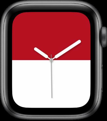 Le cadran Rayures affichant une rayure rouge vif en haut et une rayure de couleur blanc vif en bas.