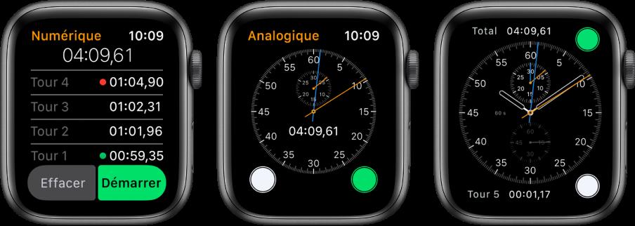 Trois écrans de montre affichant trois types de chronomètre: Un chronomètre numérique dans l'app Chronomètre, un chronomètre analogique dans l'app et les commandes de chronomètre disponibles sur le cadran Chronographe.