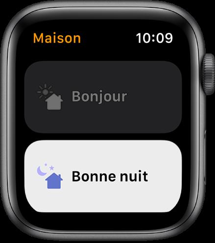 App Maison sur l'AppleWatch affichant deux scènes: Bonjour et Bonne nuit. «Bonne nuit» est mis en surbrillance.