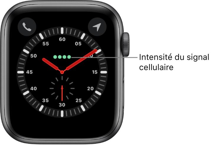Le cadran Exploration représente une montre analogique. Juste au-dessus du centre du cadran se trouvent quatre points verts indiquant l'intensité du signal cellulaire.
