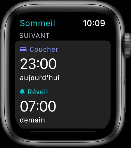 Écran Sommeil montrant le programme de sommeil de la soirée. En haut, l'heure du coucher est définie sur 23h00. Un réveil à 7h00 apparaît en dessous.