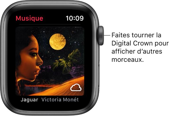 L'écran avec un album et son illustration dans l'app Musique.