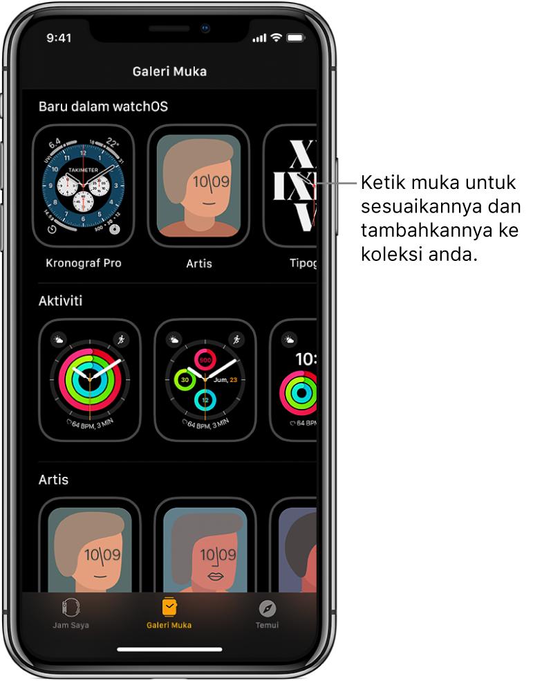 App Apple Watch membuka Galeri Muka. Baris teratas menunjukkan muka baru, baris seterusnya menunjukkan muka yang dihimpunkan mengikut jenis—contohnya Aktiviti dan Artis. Anda boleh skrol untuk melihat lebih banyak muka dihimpunkan mengikut jenis.