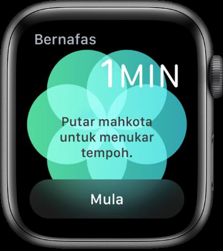 Skrin app Bernafas menunjukkan tempoh seminit di bahagian kanan atas dan butang Mula di bahagian bawah.