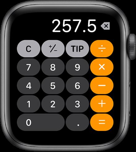 Apple Watch menunjukkan app Kalkulator. Skrin menunjukkan pad nombor tipikal dengn fungsi matematik di sebelah kanan. Di sepanjang bahagian atas ialah butang C, tambah atau tolak dan tip.