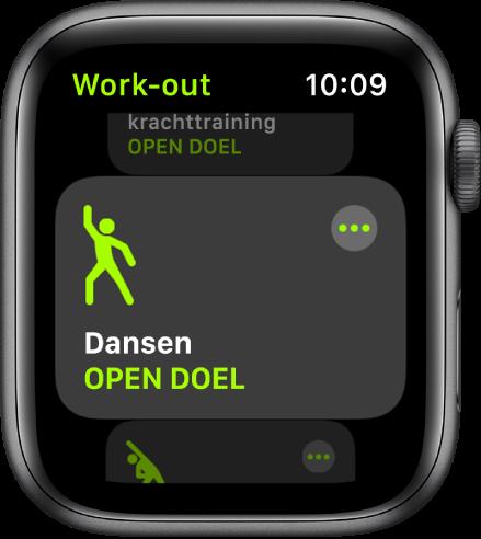 Het Work-out-scherm, waarin de work-out 'Dansen' is geselecteerd.