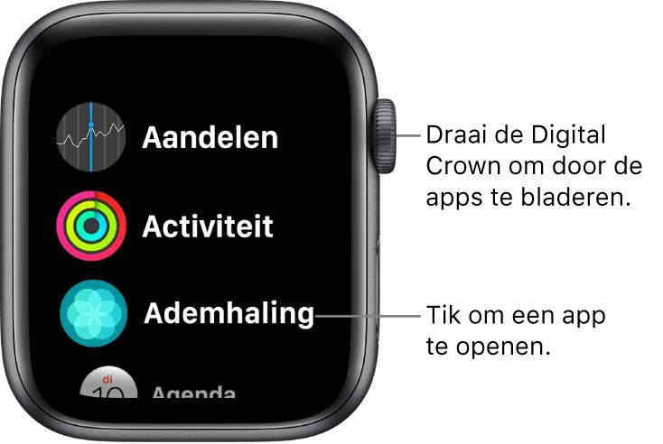 Beginscherm van de AppleWatch in de lijstweergave, met apps in een lijst. Tik op een app om deze te openen. Scrol om meer apps weer te geven.
