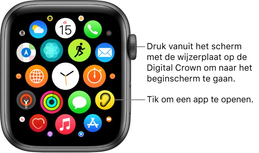 Beginscherm van de AppleWatch in de rasterweergave, met gegroepeerde apps. Tik op een app om deze te openen. Sleep om meer apps weer te geven.