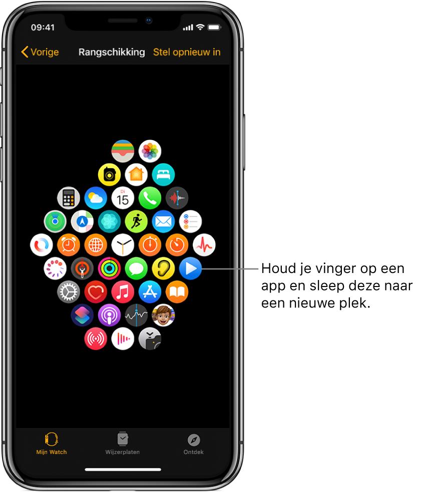 Het scherm 'Rangschikking' in de AppleWatch-app toont een raster met apps.