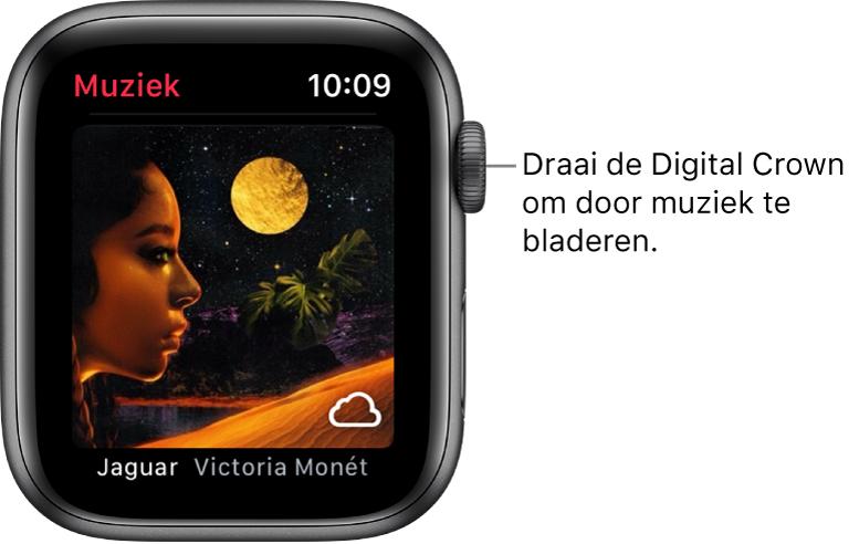 Scherm van de Muziek-app met een album en de bijbehorende albumillustratie.