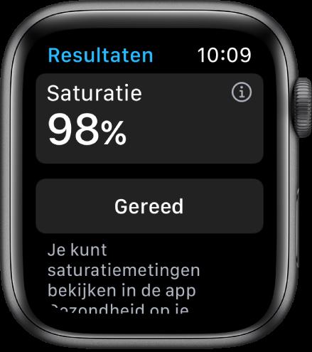 Het scherm met de uitslag van een saturatiemeting, met een saturatiewaarde van 98procent. Onderin bevindt zich de knop 'Gereed'.