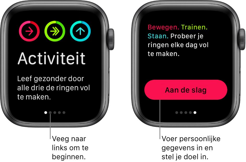Twee schermen: Het ene scherm toont het beginscherm van de Activiteit-app en het andere scherm toont de knop 'Aan de slag'.