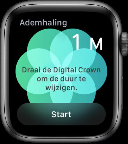 Het scherm van de Ademhaling-app met rechtsboven een duur van één minuut en onderin de knop 'Start'.