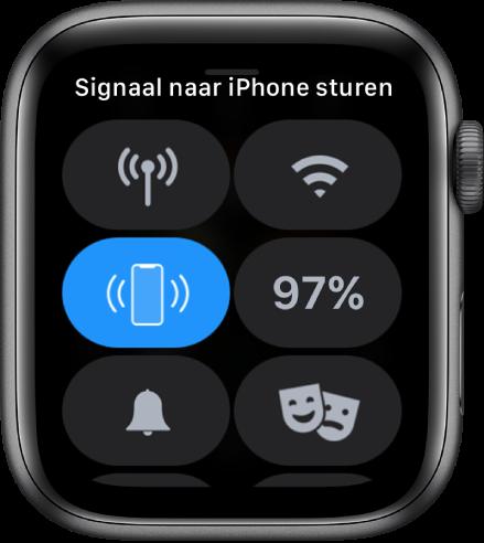 Bedieningspaneel met links in het midden de knop 'Stuur signaal naar iPhone'.