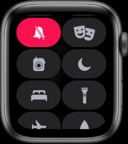 Bedieningspaneel waarin de knop voor de stille modus is geselecteerd.