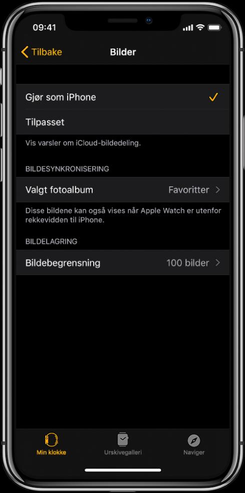 Bilder-innstillinger i AppleWatch-appen på iPhone, med Bildesynkronisering-innstillingen i midten og Bildebegrensning-innstillingen under.