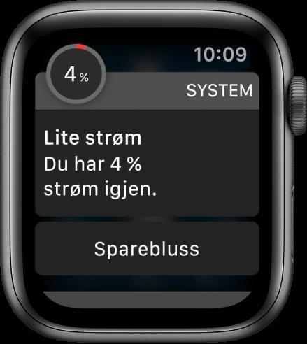 Varselet om lavt batterinivå har en knapp du kan trykke på for å aktivere Sparebluss-modus.