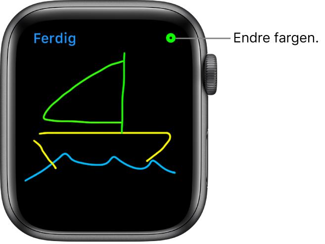Tegneområdet med en tegning i midten og fargevelgeren øverst til høyre.
