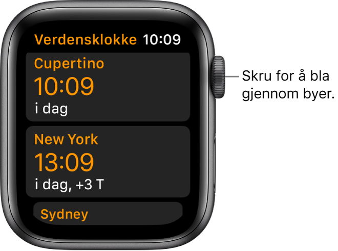 Verdensklokke-appen med liste over byer og rullefelt.