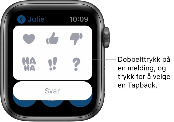 En Meldinger-samtale med Tapback-valg: hjerte, tommel opp, tommel ned, Ha Ha, !! og ?. Under vises en Svar-knapp.