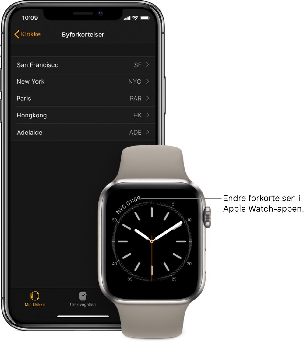 En iPhone og AppleWatch ved siden av hverandre. AppleWatch-skjermen viser klokkeslettet i New York City, med forkortelsen NYC. iPhone-skjermen viser en liste over byer i Byforkortelser-innstillinger, i Klokke-innstillinger i AppleWatch-appen.