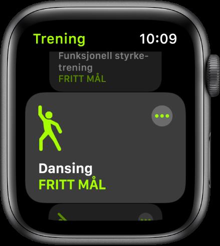 Trening-skjermen, med Dansing markert.