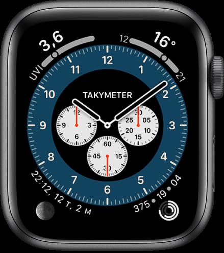 Kronograf Pro-urskiven som viser Takymeter-versjonen.