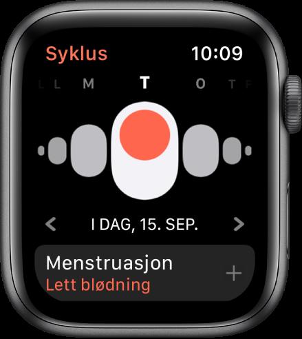 Syklus-skjermen som viser ukedager øverst, dagens dato nedenfor og Menstruasjon-knappen nederst.