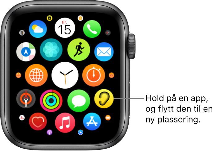 Hjem-skjermen på AppleWatch i rutenettvisning.