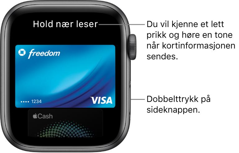 ApplePay-skjerm med «Hold nær leser» øverst. Et lett prikk og et pip bekrefter at betalingsinformasjonen er sendt.