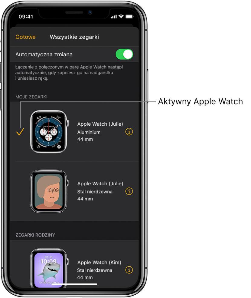 Ikona zaznaczenia na ekranie Wszystkie zegarki wskazuje, który AppleWatch jest aktywny.