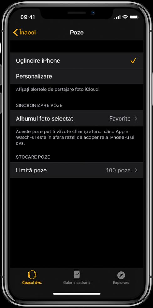 Configurările pentru Poze în aplicația AppleWatch de pe iPhone, având configurarea Sincronizare poză în mijloc și configurarea Limită poze dedesubt.