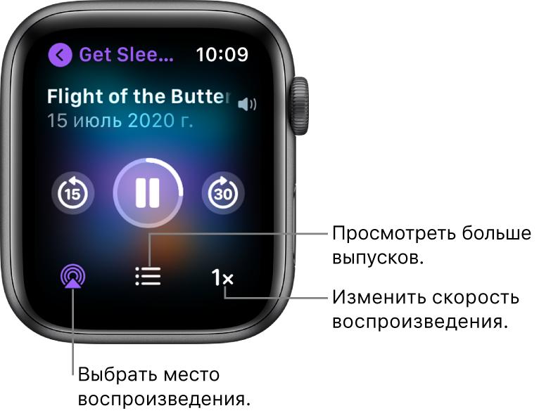 Экран «Исполняется» для подкаста. Указано название передачи, название выпуска, дата, кнопка для перехода на 15секунд назад, кнопка паузы, кнопка для перехода на 30секунд вперед, кнопка AirPlay, кнопка выбора выпуска и кнопка скорости воспроизведения.
