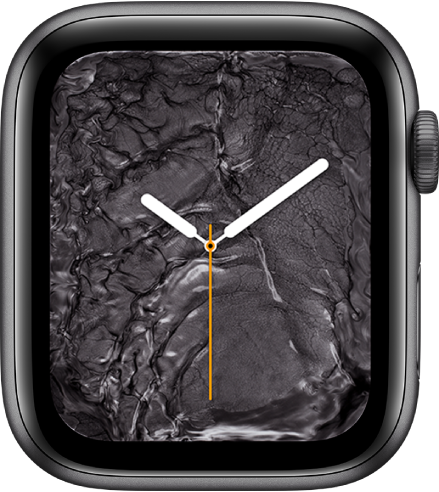Циферблат «Жидкий металл» с аналоговыми часами по центру и расплавленным металлом вокруг них.
